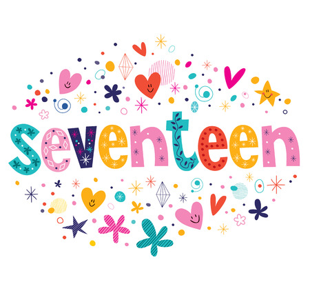 seventeen: word seventeen retro typography lettering decorative text