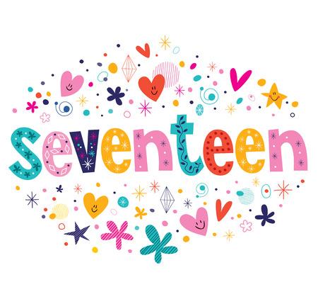 sweet seventeen: word seventeen retro typography lettering decorative text