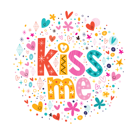 kiss me retro typography lettering decorative text design Vector