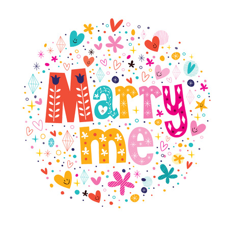 Marry me retro typography lettering decorative text design Illustration
