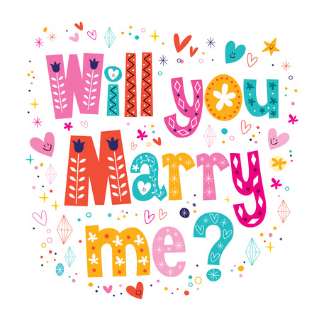 marry me: Will you Marry me retro typography lettering decorative text design