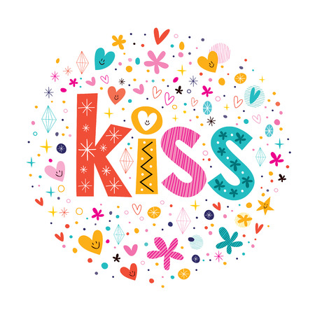 word kiss retro typography lettering decorative text Vector