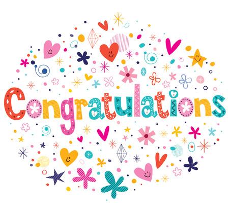 felicitaciones: Felicidades tipograf�a letras dise�o de la tarjeta el texto decorativo