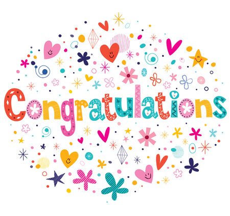 Congratulations typography lettering decorative text card design Stock Illustratie