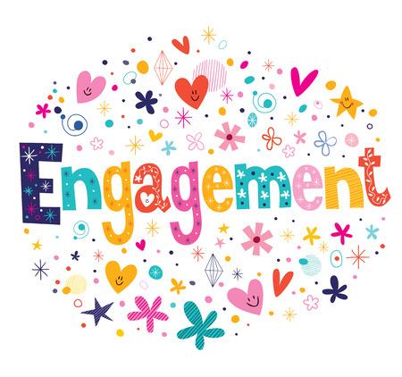 verlobt: Engagement Retro Typografie Schriftzug dekorativen Text