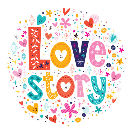 words Love story retro typography lettering decorative text Vector