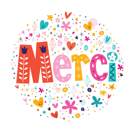 Word Merci Thanks in French typography lettering decorative text card Vettoriali