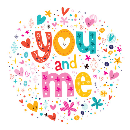words You and Me typography lettering decorative text Vector