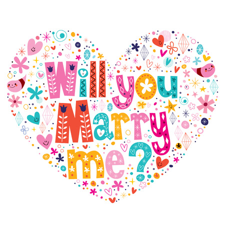 marry me: Will you Marry me heart shaped typography lettering decorative text design
