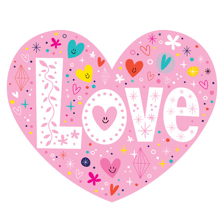 word Love retro typography lettering text heart card Illustration