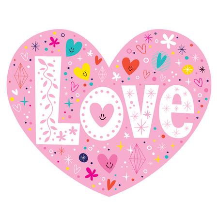 saint valentin coeur: mot amour r�tro lettrage de la typographie carte coeur de texte Illustration