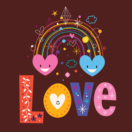 rainbow hearts word Love retro typography lettering text design Vector