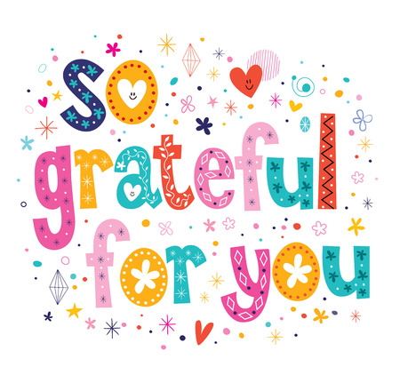 so grateful for you typography lettering loving decorative text card design Vectores