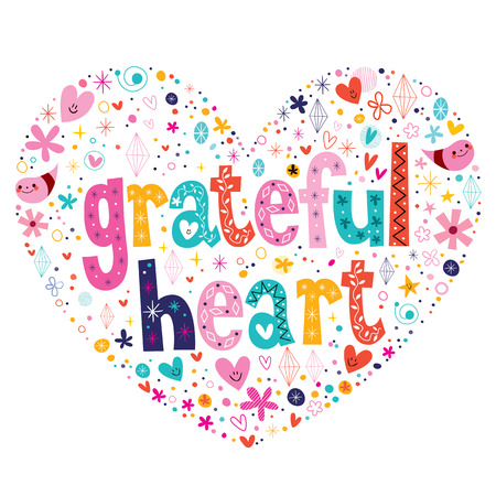 thanks: grateful heart typography lettering card