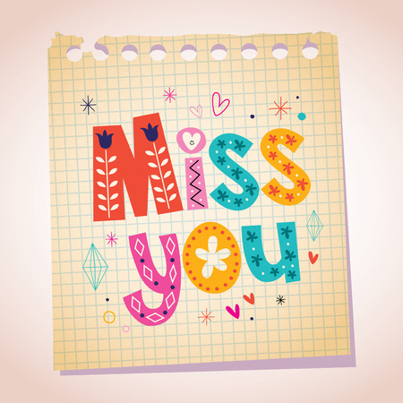 Miss you note paper cartoon illustration Vector