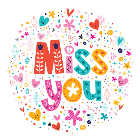 miss you typography lettering decorative text card Vectores