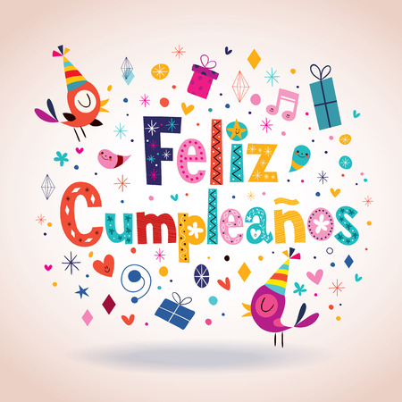 flores de cumpleaños: Feliz Cumpleanos - Feliz cumpleaños en tarjeta española Vectores