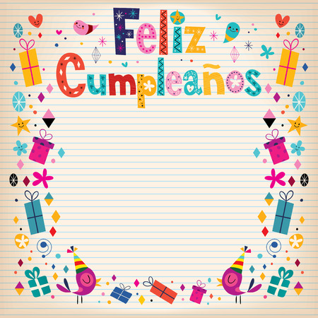 Feliz Cumpleanos - Happy Birthday in Spanish border lined paper retro card Vector
