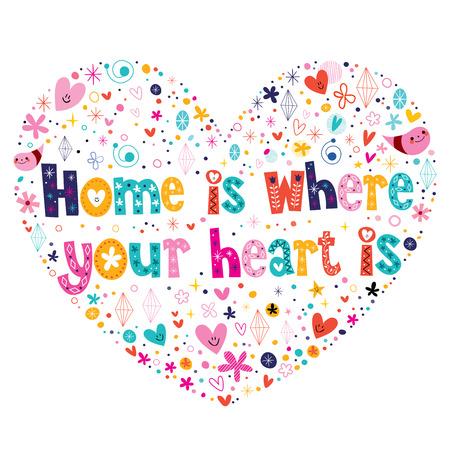 El hogar es donde está su corazón diseño en forma de corazón letras cotización Foto de archivo - 33665781