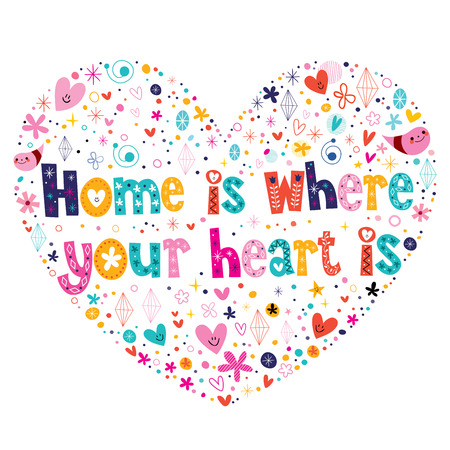 Home is where your heart is quote lettering heart shaped design Vector