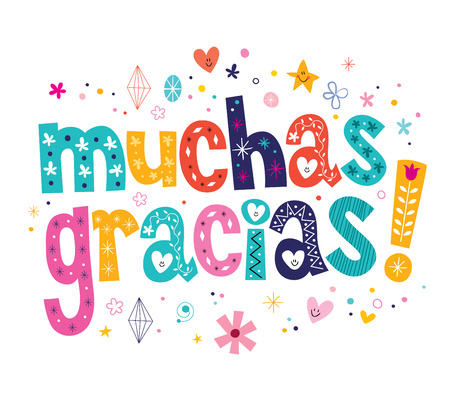 muchas gracias many thanks in Spanish card Ilustrace