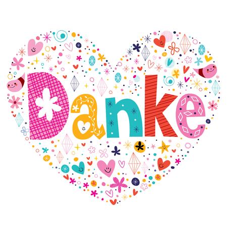 heart diamond: Danke - Thanks in German typography lettering card