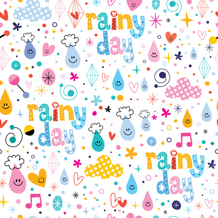 rainy days: rainy day fun characters cartoon seamless pattern Illustration