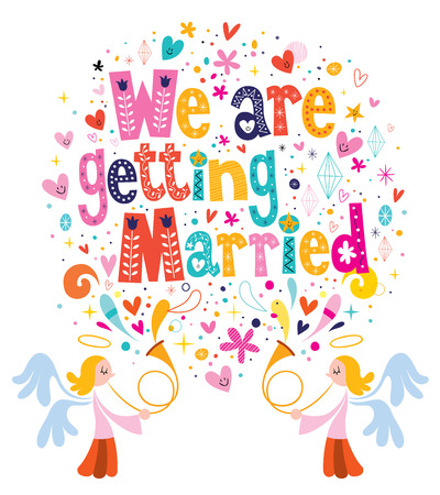 getting married: We Are Getting Married wedding invitation card Illustration