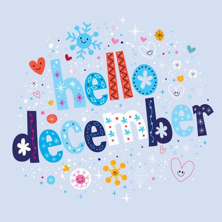 december: hola diciembre Vectores
