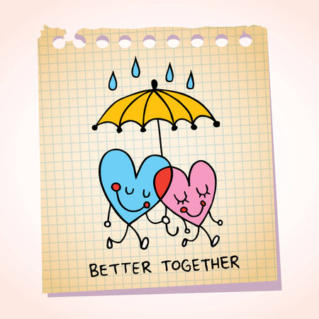 better days: better together notepad paper cartoon illustration