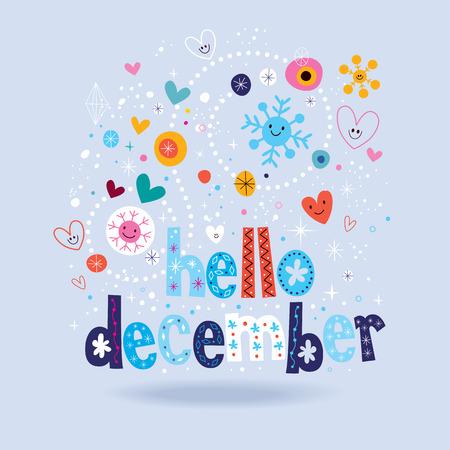 in december: hello december Illustration