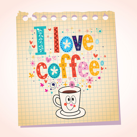 i pad: I love coffee note paper cartoon illustration