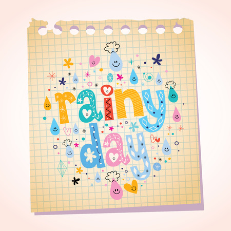 Rainy day notepad paper cartoon illustration
