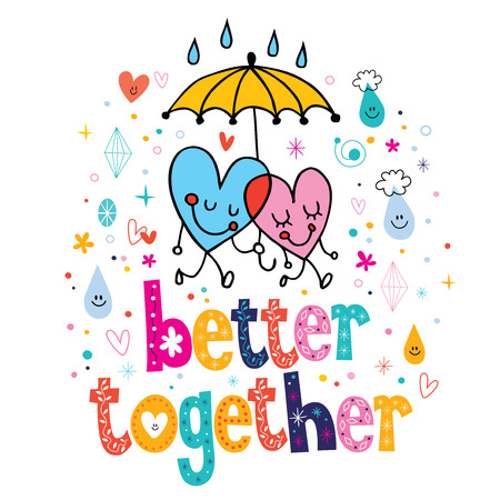 couple in rain: better together