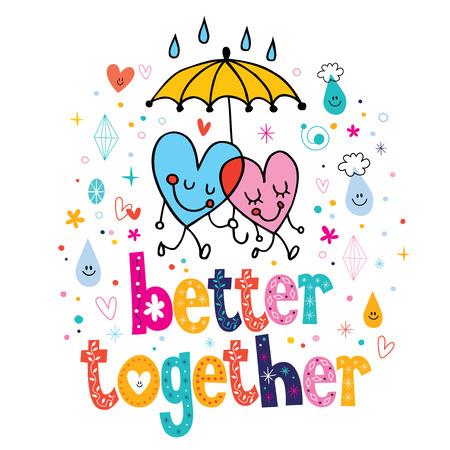 uomo sotto la pioggia: meglio insieme Vettoriali