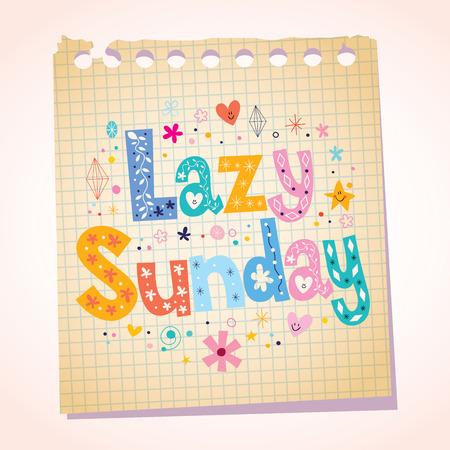 sunday paper: Lazy Sunday notepad paper cartoon illustration Illustration