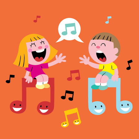 niños cantando música