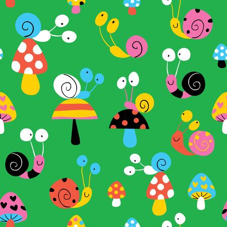 kids garden: snails & mushrooms pattern Illustration