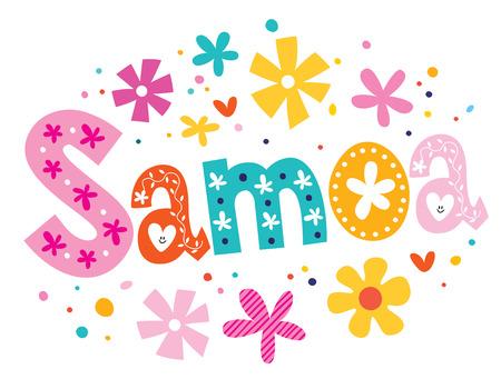 samoa: Samoa vector lettering decorative type