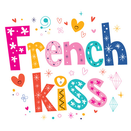 french kiss: French kiss type lettering decorative text