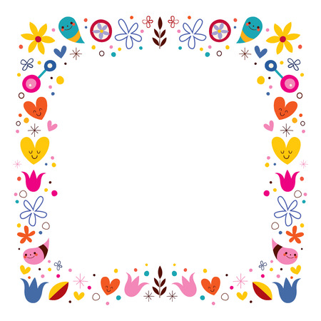 nature love harmony flowers abstract art vector frame border Banque d'images