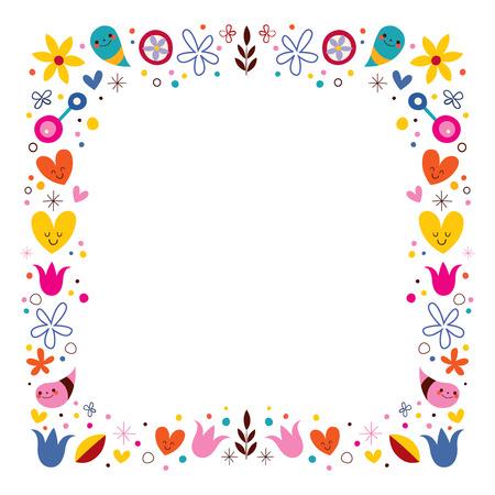 harmony nature: nature love harmony flowers abstract art vector frame border Stock Photo