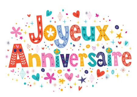 flores de cumpleaños: Joyeux Anniversaire Feliz cumpleaños en letras decorativas Francés