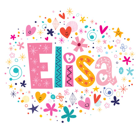 name tags: Elisa female name decorative lettering type design Stock Photo
