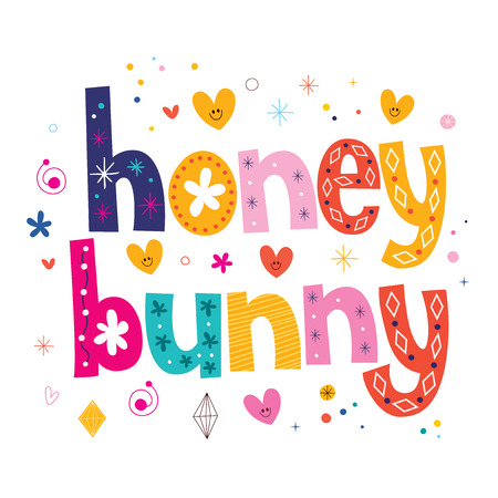 Honey bunny typography lettering design