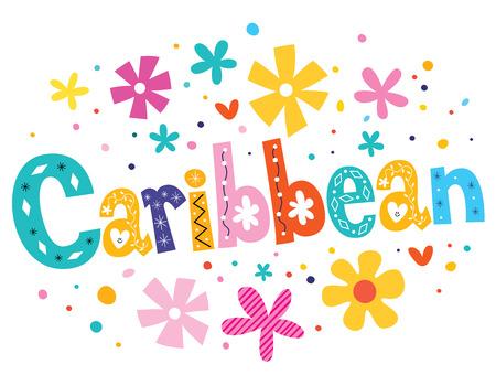 caribbean: Caribbean vector lettering decorative type Stock Photo