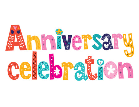 anniversary flower: Anniversary celebration decorative lettering text design