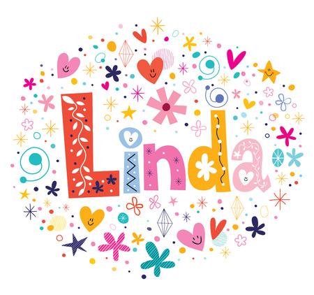 linda: Linda female name decorative lettering type design