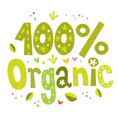 organic products: one hundred percent organic bio vector lettering type design