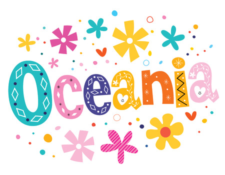 oceania: Oceania vector lettering decorative type